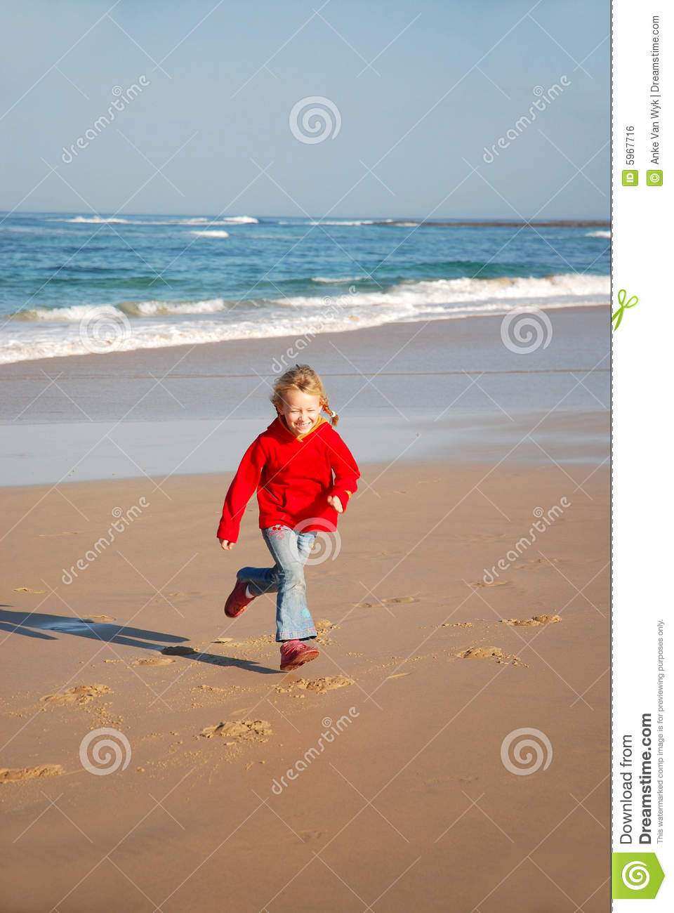 Young Girl Running On Beach Stock Photo - Image: 5967716 Girl Running On Beach