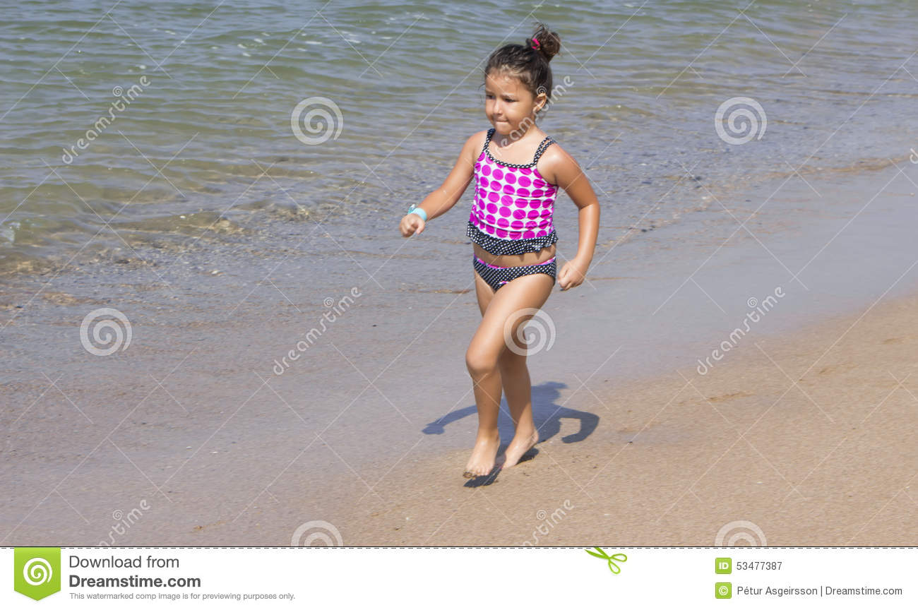 Young Girl Running Stock Image Image Of Blue Swimsuit 53477387