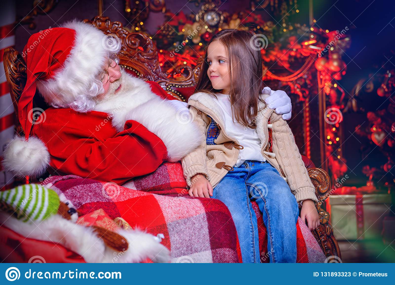 Young girl with santa