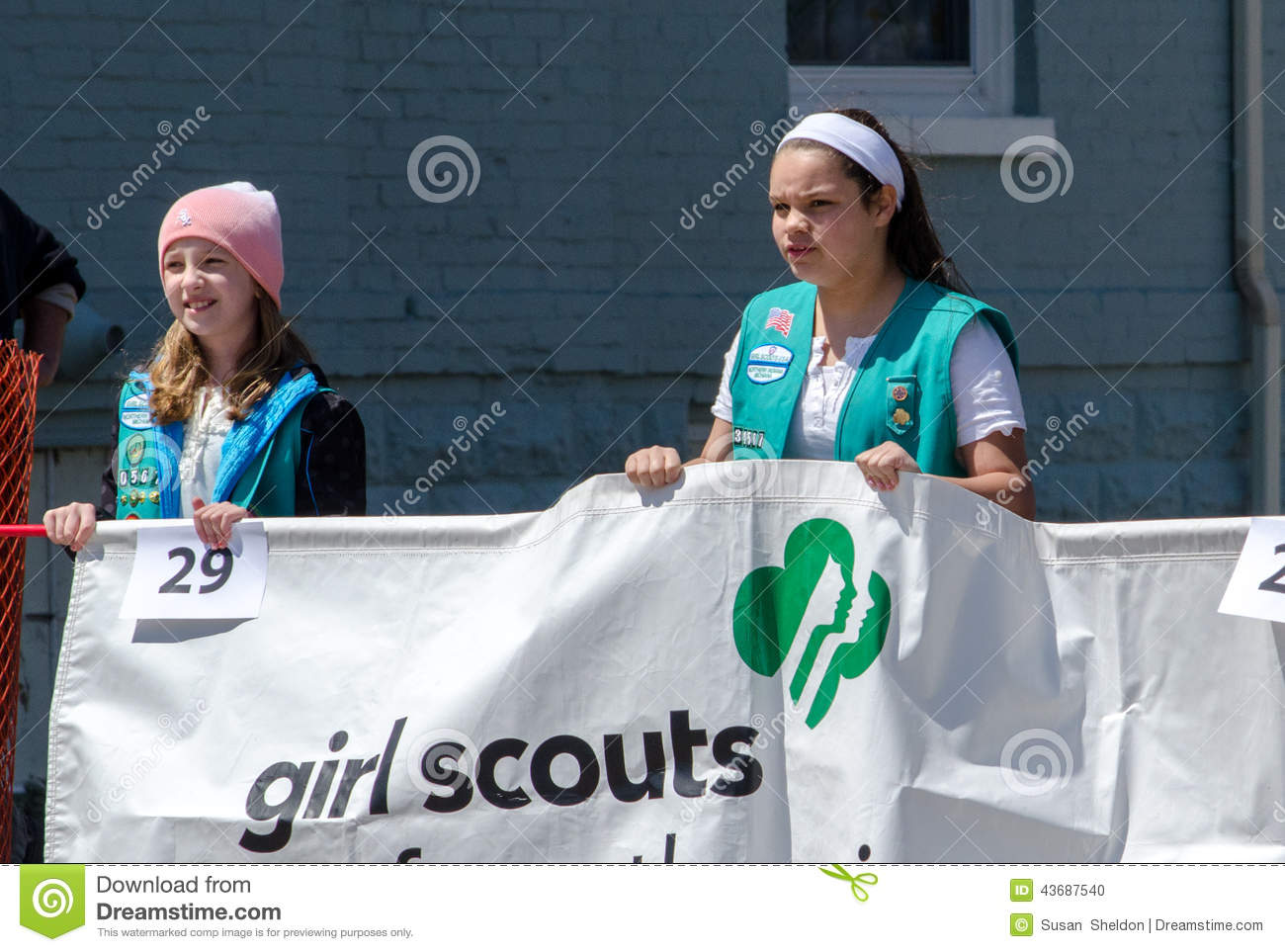 Young Girl Scouts With Banner Editorial Image - Image of
