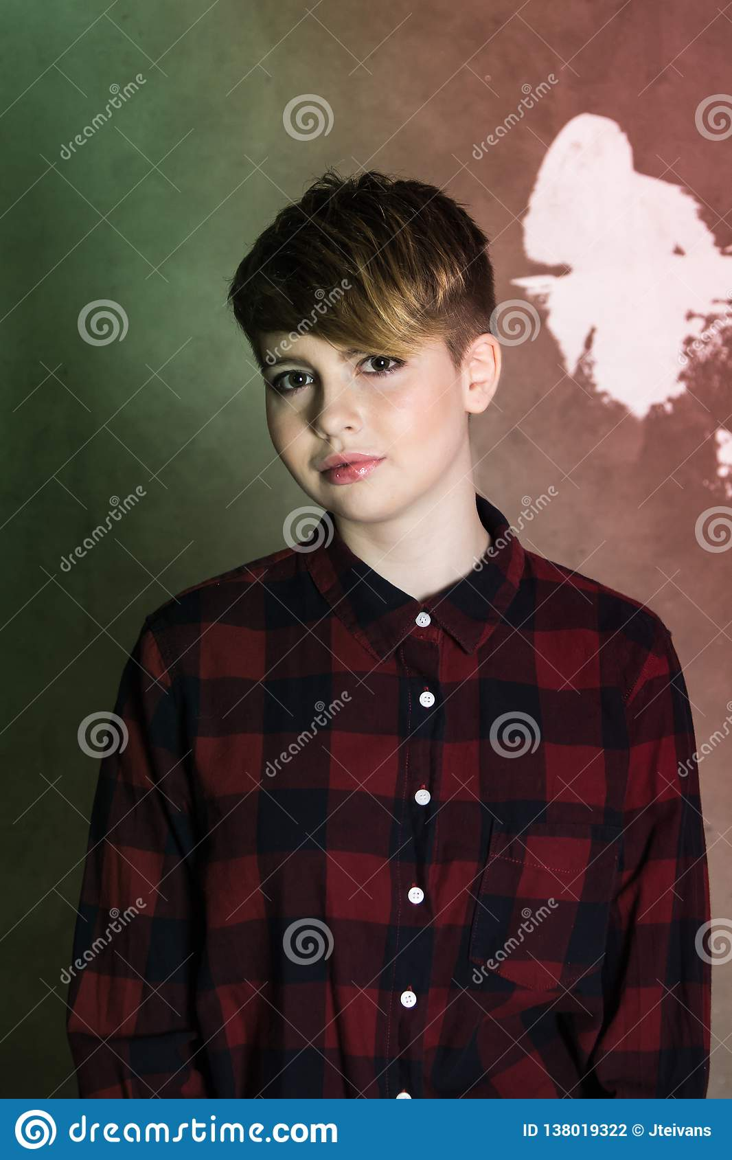 Young Girl With Short Haircut Concrete Wall On Background Stock Photo Image Of Female Attractive 138019322
