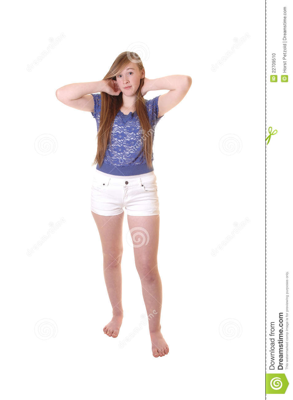 Young girl in shorts.