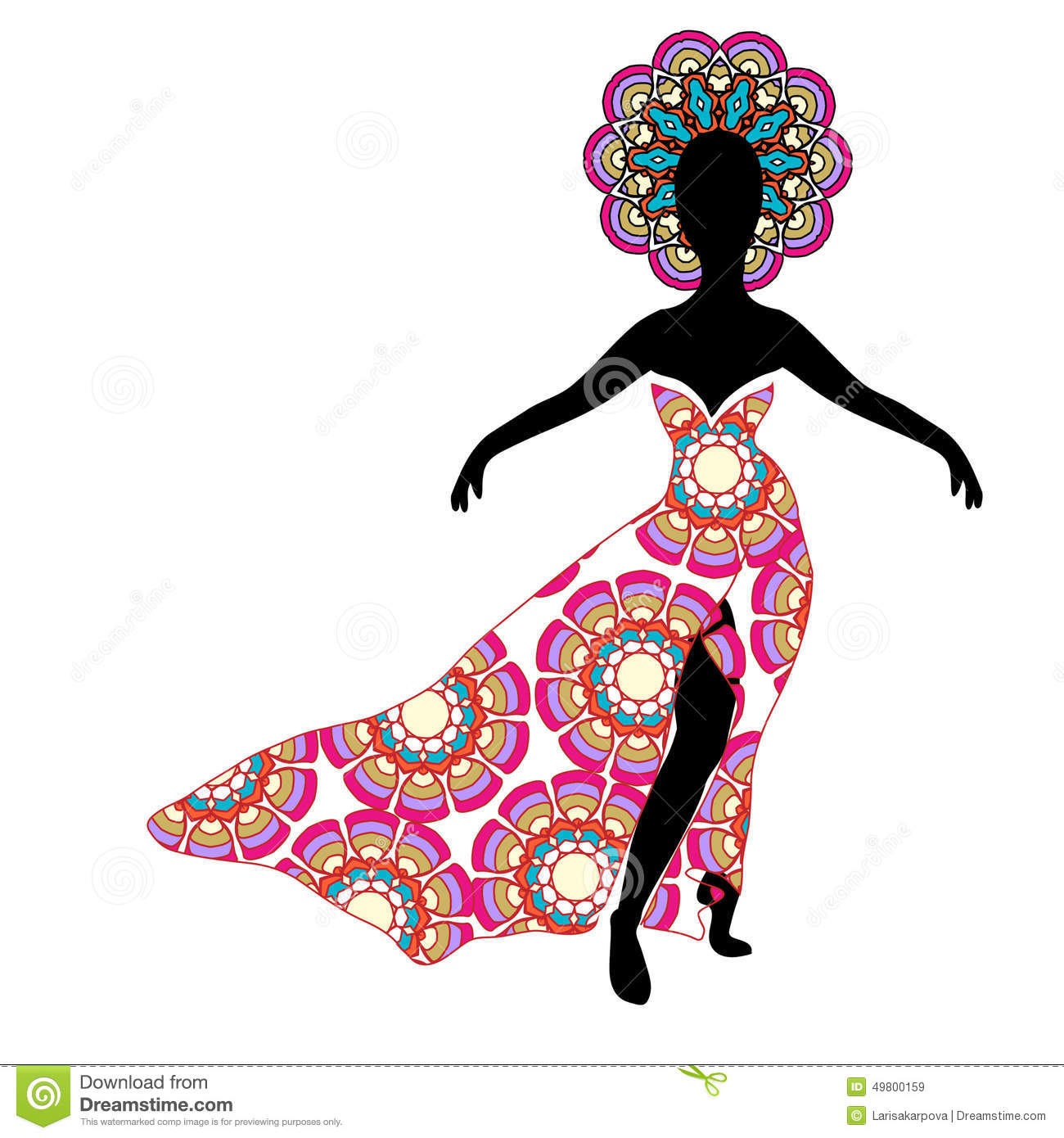 Young Girl Silhouette In Chic Long Traditional Dress Stock ...