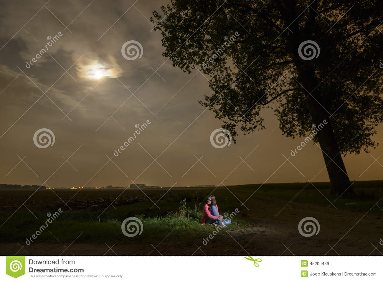 Young Girl Sitting Alone In The Dark Stock Photo - Image ...