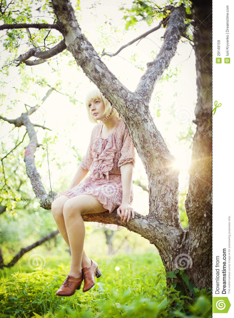 Girl sitting on a tree