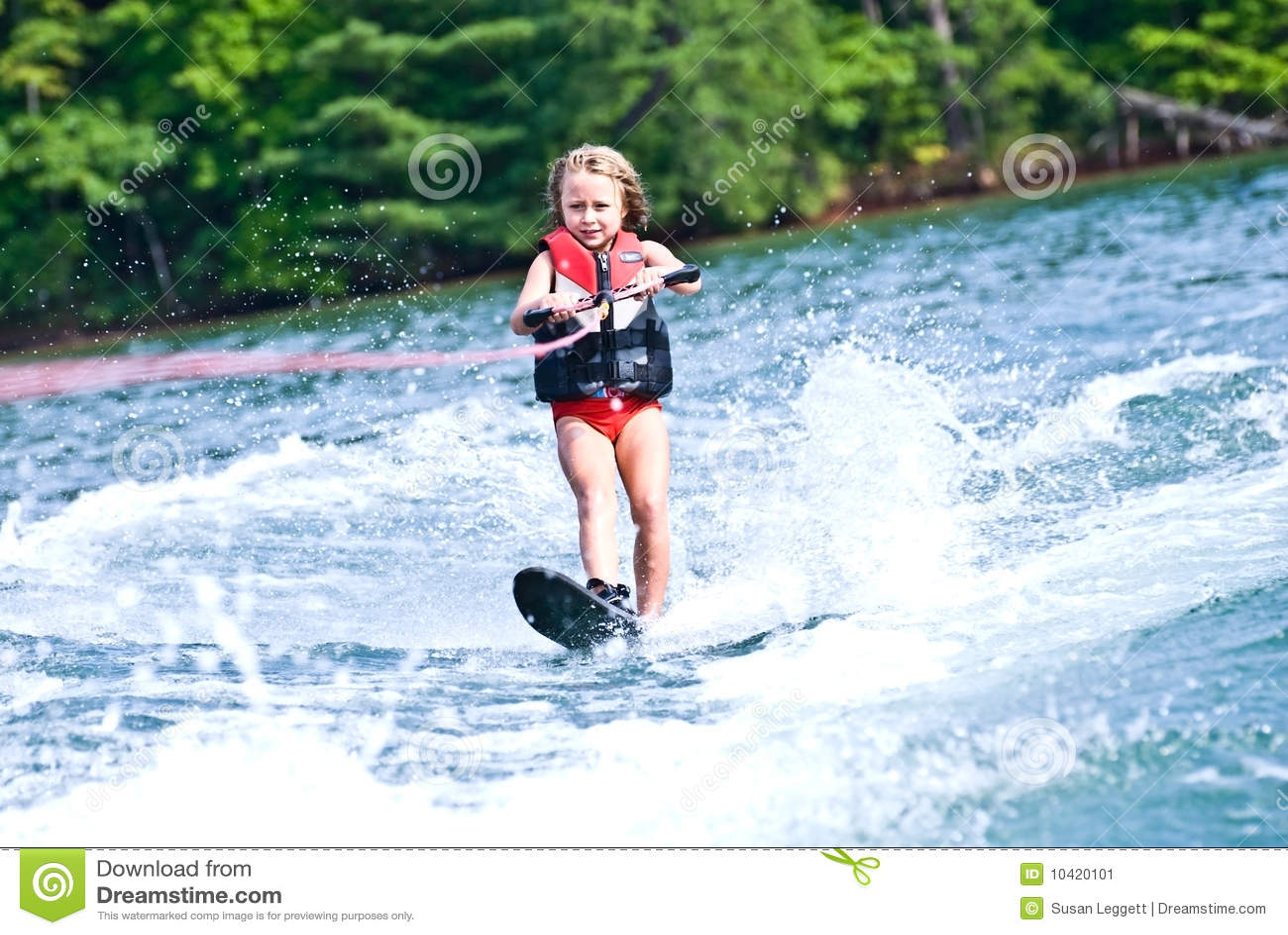 Young Girl on Slalom Ski