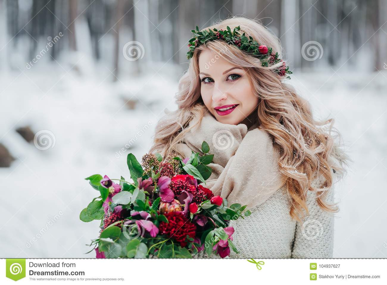 https://thumbs.dreamstime.com/z/young-girl-slavic-appearance-wreath-wildflowers-beautiful-blonde-bride-holds-bouquet-winter-background-artwork-104937627.jpg