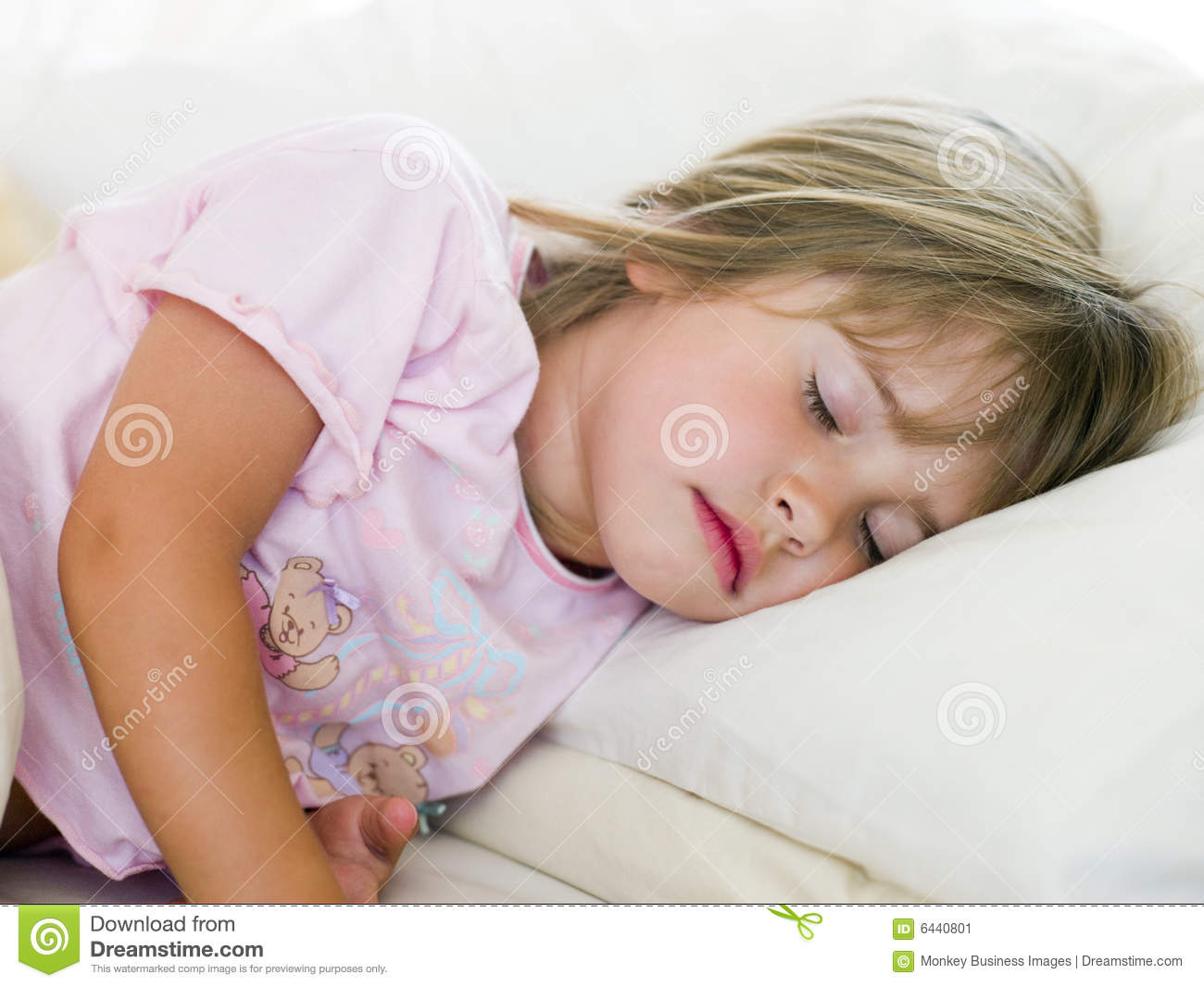 Young Girl Sleeping In Her Bed Stock Image Image 6440801
