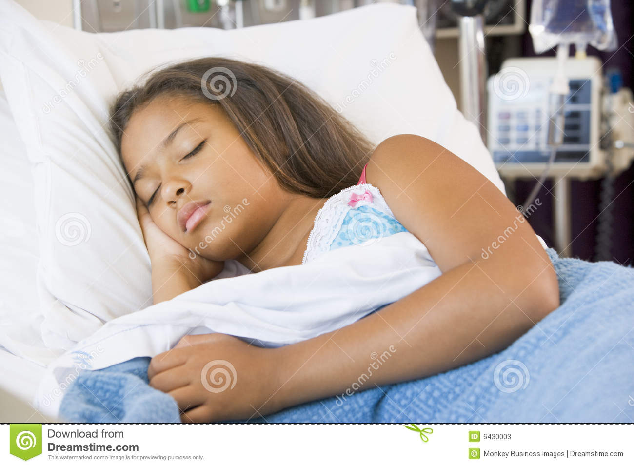 Young girl sleeping in hospital bed stock photos image for Sleeping bed