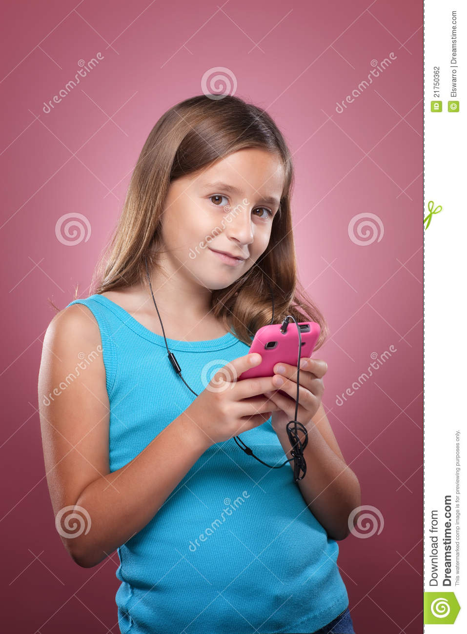 Girl With The Blog: Young Girl With Smart Phone Stock Photo