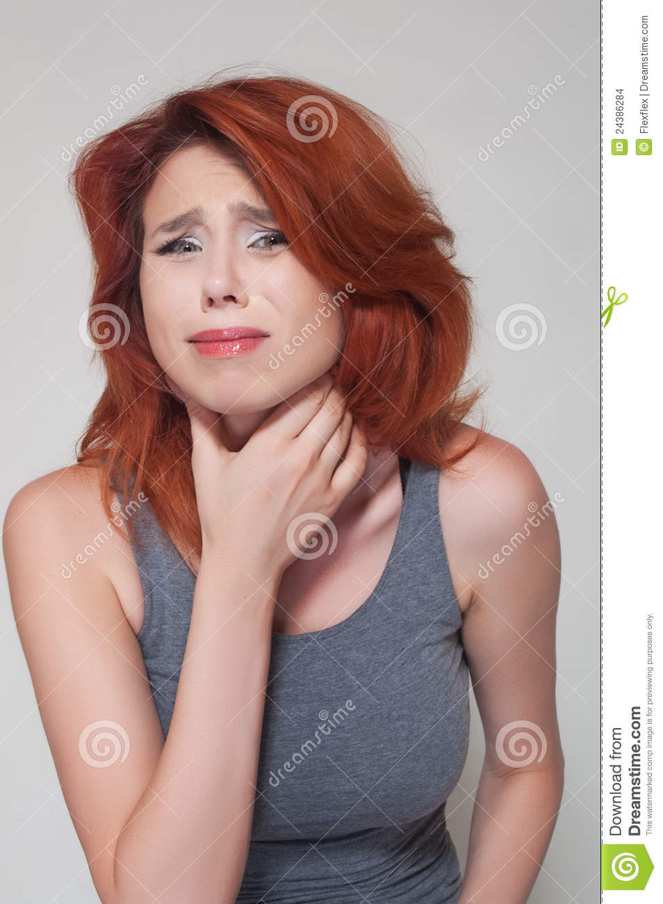 Stock Images: Young girl with sore throat