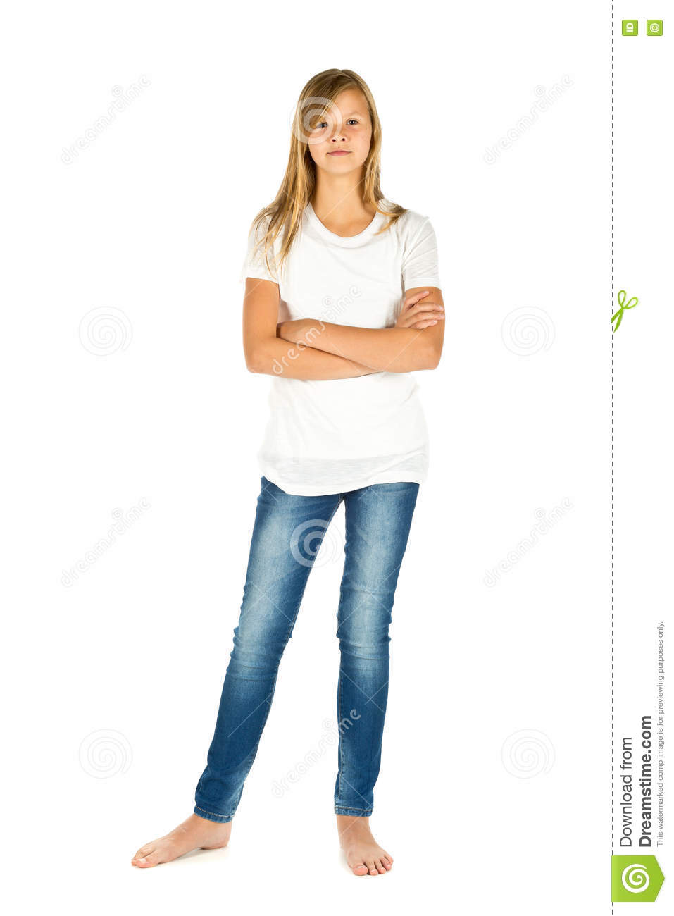 White t shirt and blue jeans - Young Girl Standing With White T Shirt And Blue Jeans Over White