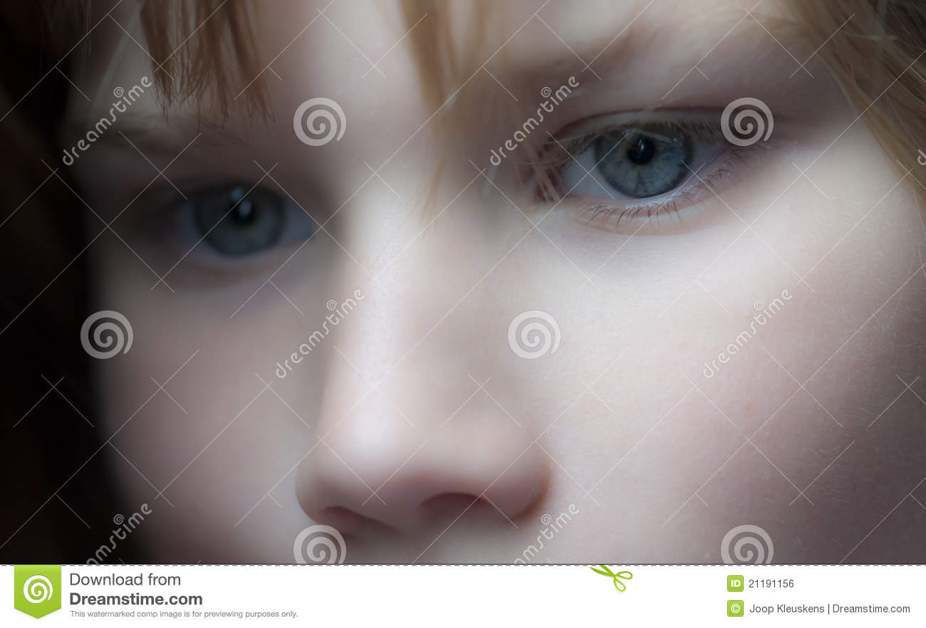 Young girl staring