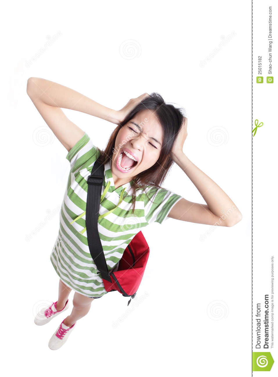 Young girl student screaming and pulling hair