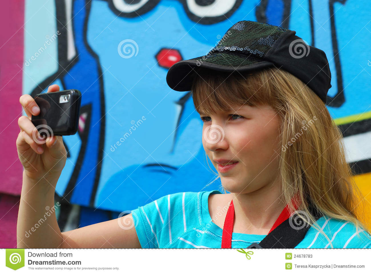 Teenage Girl Taking Picture With Her Mobile Phone Iii High