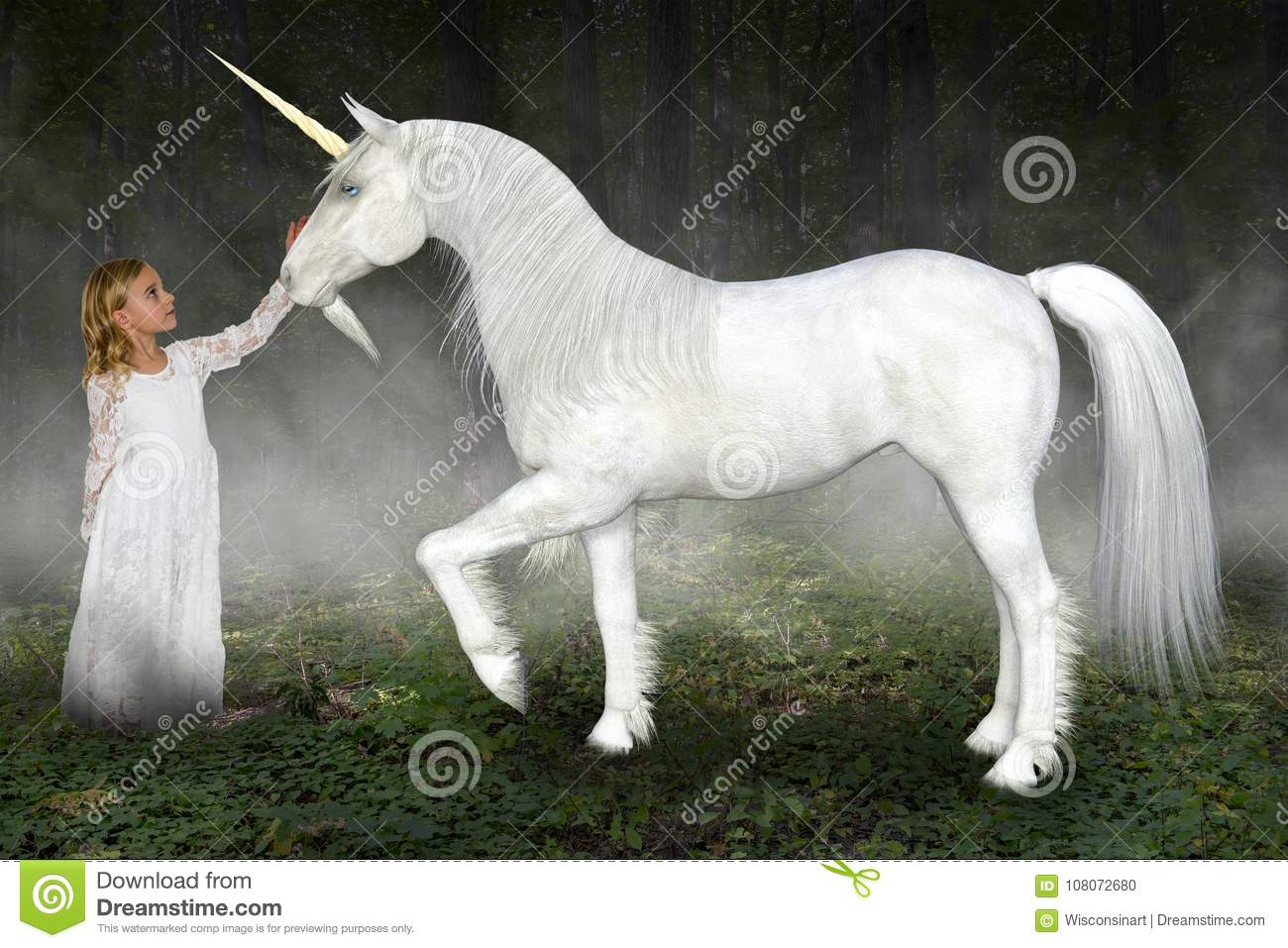Young Girl, Unicorn, Nature, Hope, Love, Peace
