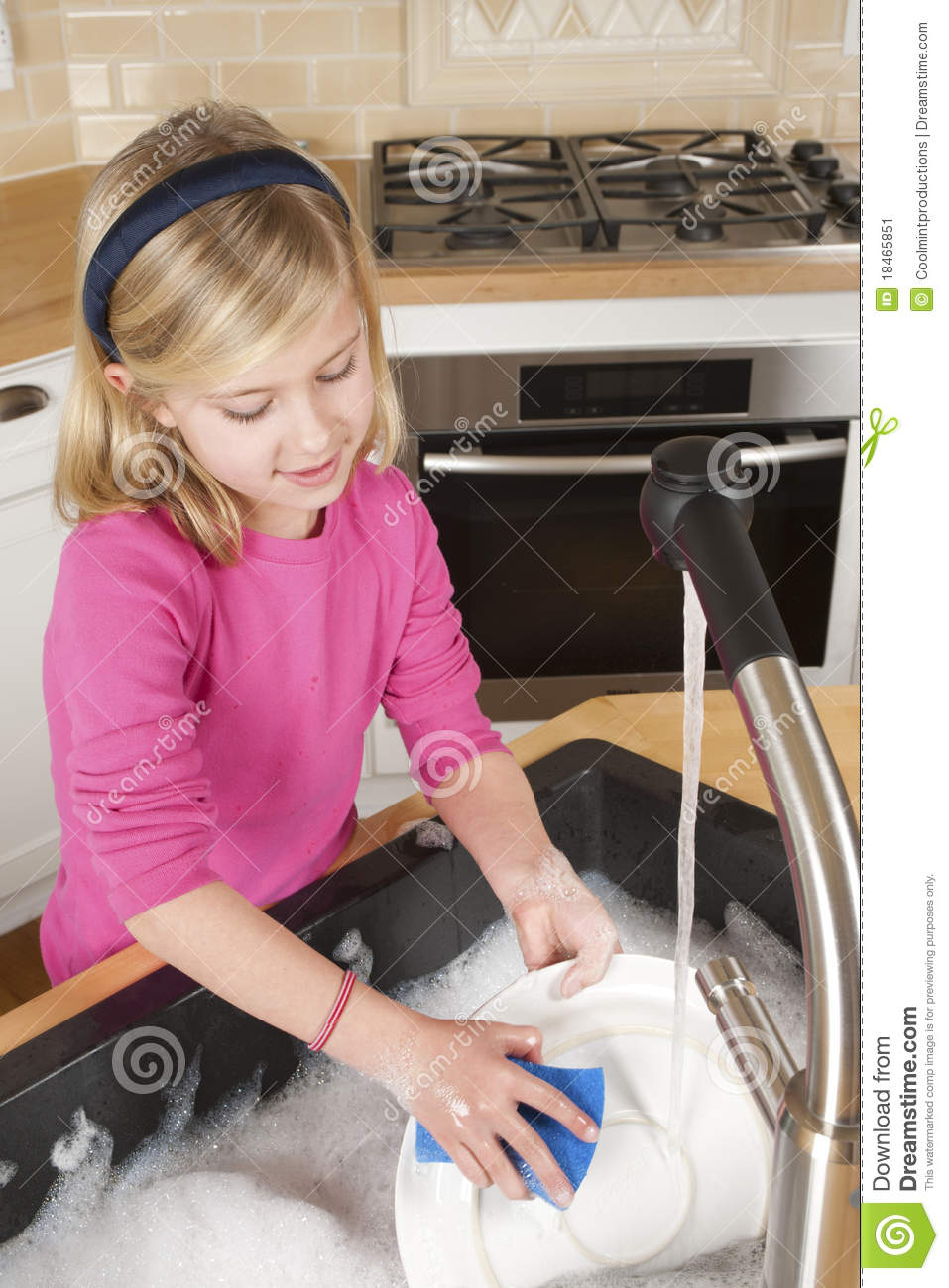 Young Girl Washing Dishes Stock Image Image Of Help 18465851
