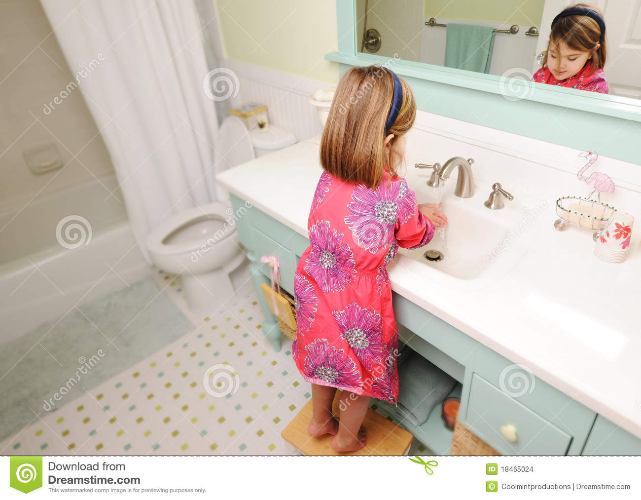 Young Girl Washing Hands In Bathroom Stock Photo Image