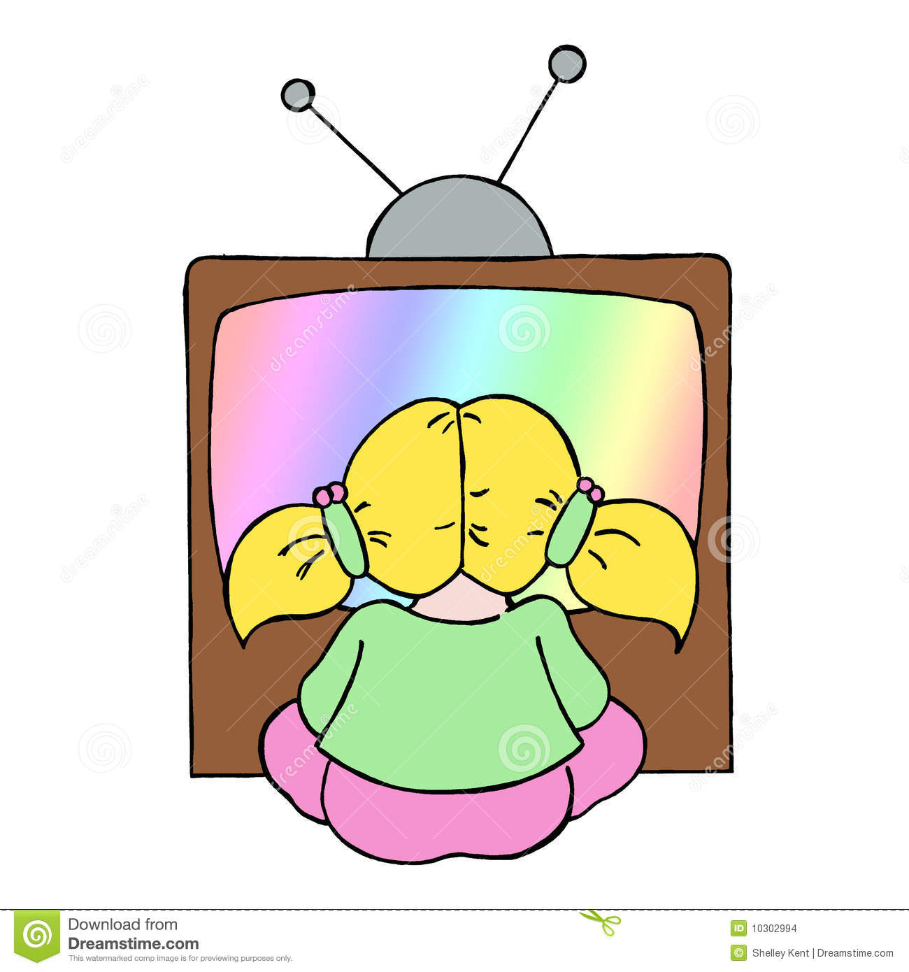 Colour line cartoon drawing of a young girl watching television.