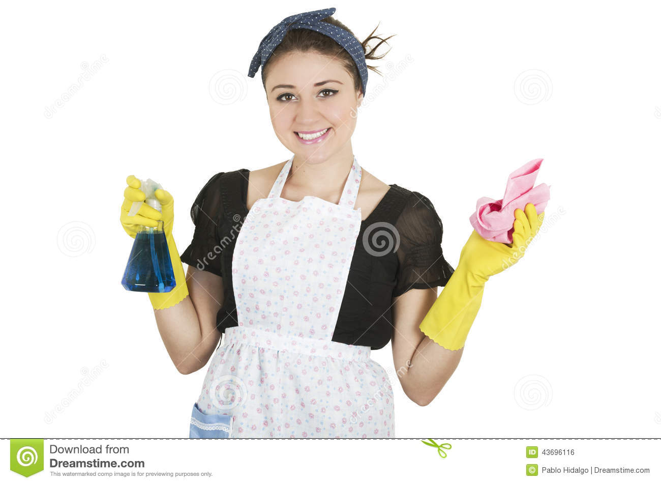 White gloves apron cleaning services - Young Girl Wearing Apron And Holding Cleaning