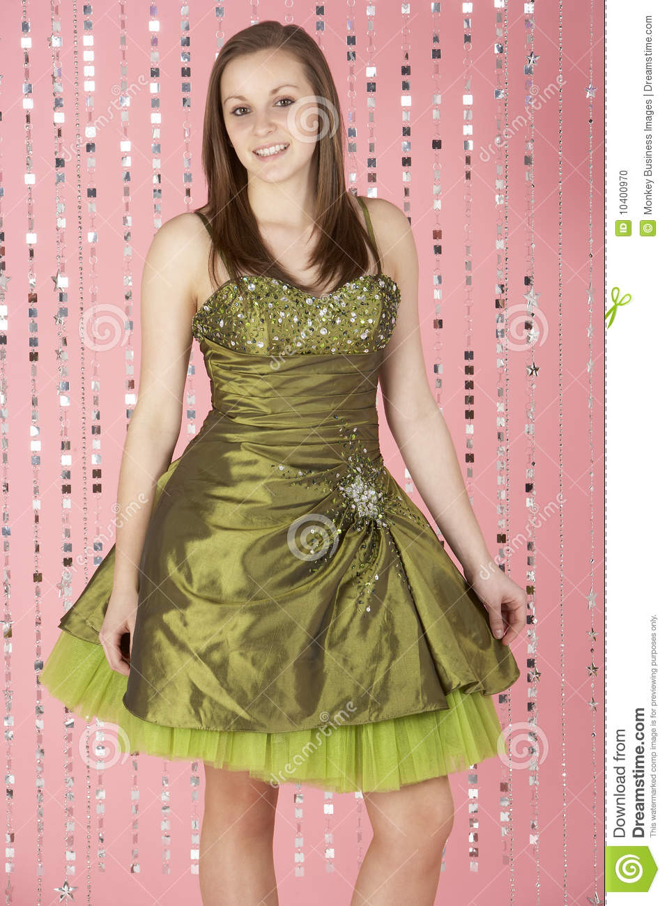 Young Girl Wearing Party Dress Stock Photo - Image of full, color ...