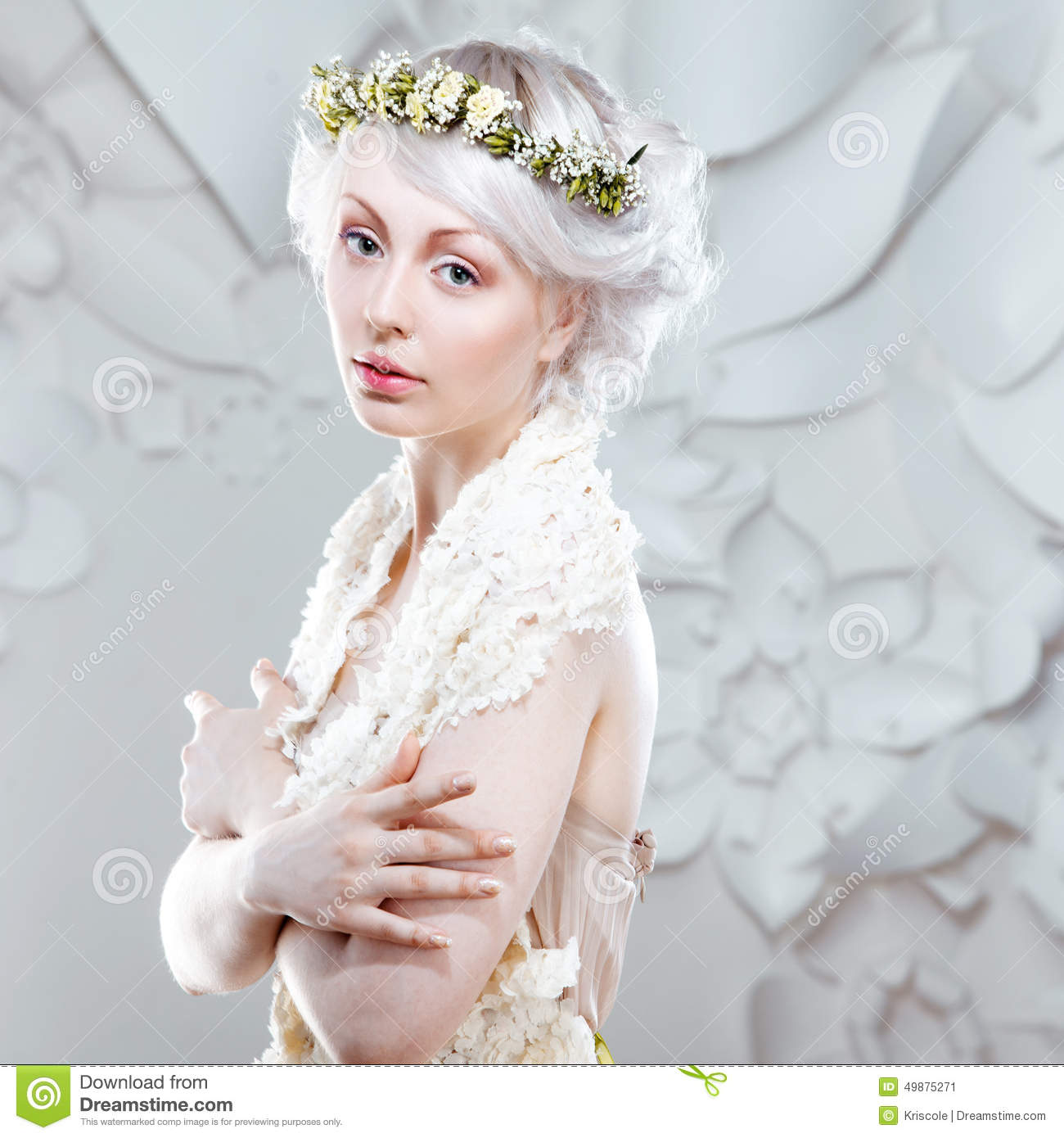 Young Girl With A White Hair Stock Image Image Of Bouquet Color