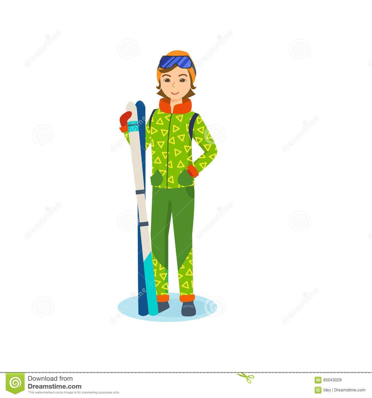 cbc4fbc049 Young girl in winter clothes of holding ski in hands. Royalty-Free Vector