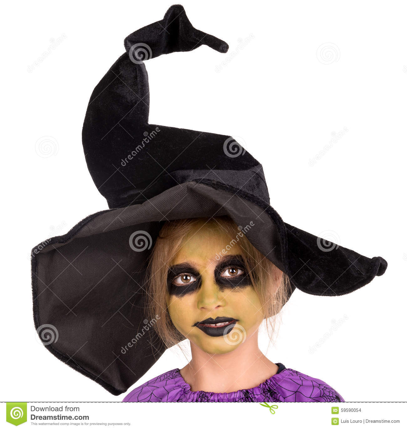 Young girl witch in halloween stock photo image 59590054 - Maquillage de sorciere pour petite fille ...