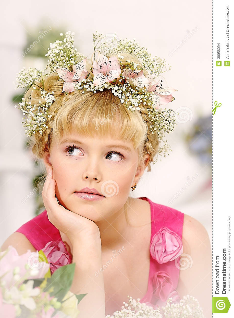 Young flower girl stock photo image of blossom catholic 30056094 young girl with a wreath of flowers on her head izmirmasajfo