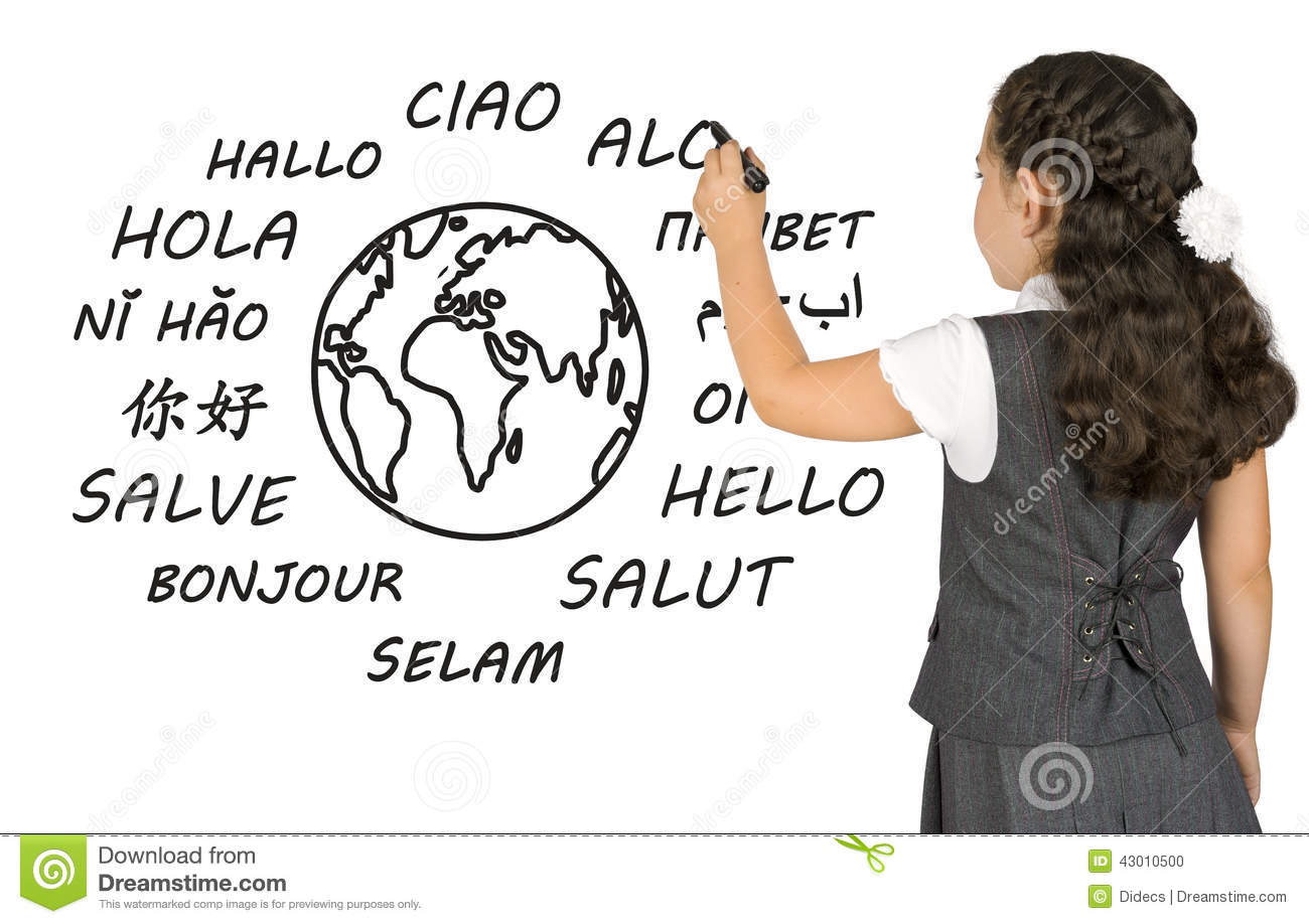 Young girl writing on white board the word Hello