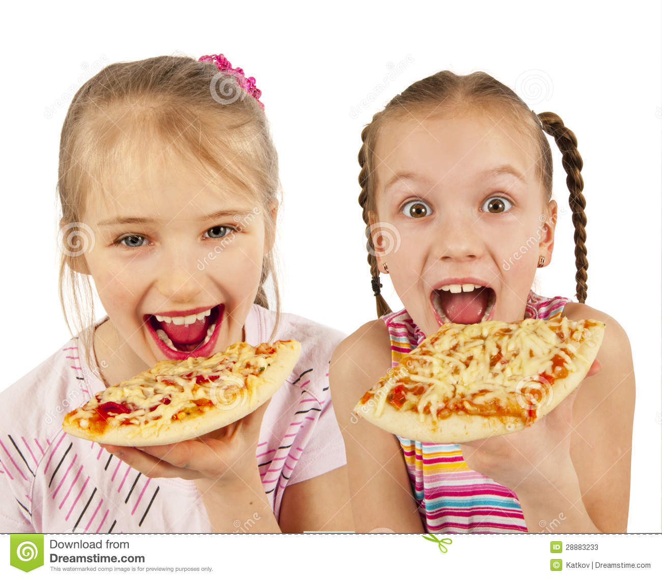 Young Girls Eating Pizza Stock Photos - Image: 28883233