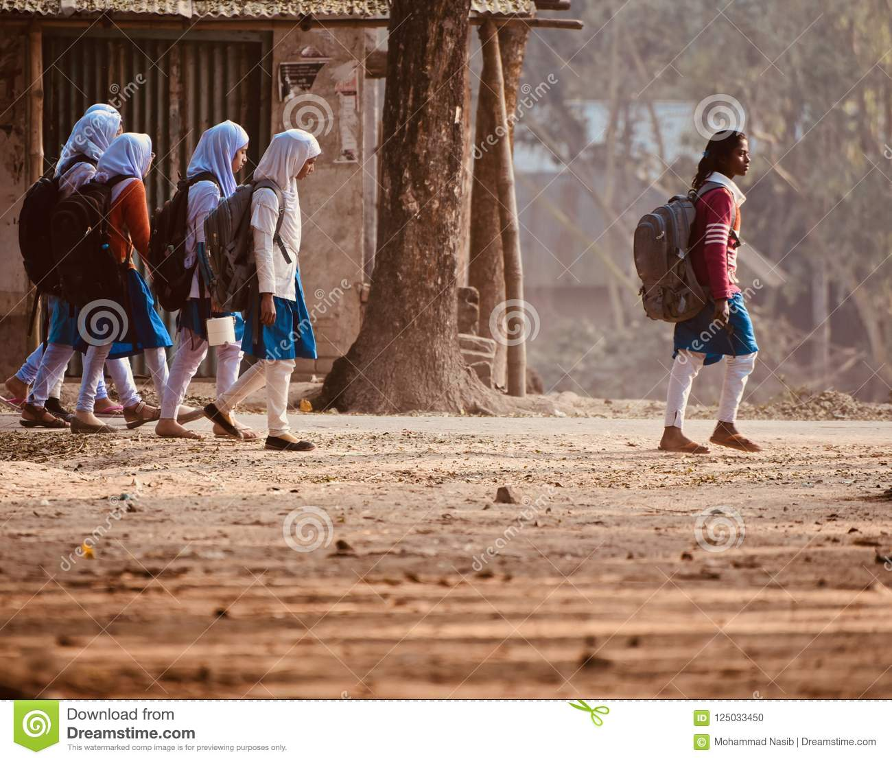 Download Young Girls Are Walking Together To Attend The Village School Editorial Image - Image of village, isolated: 125033450