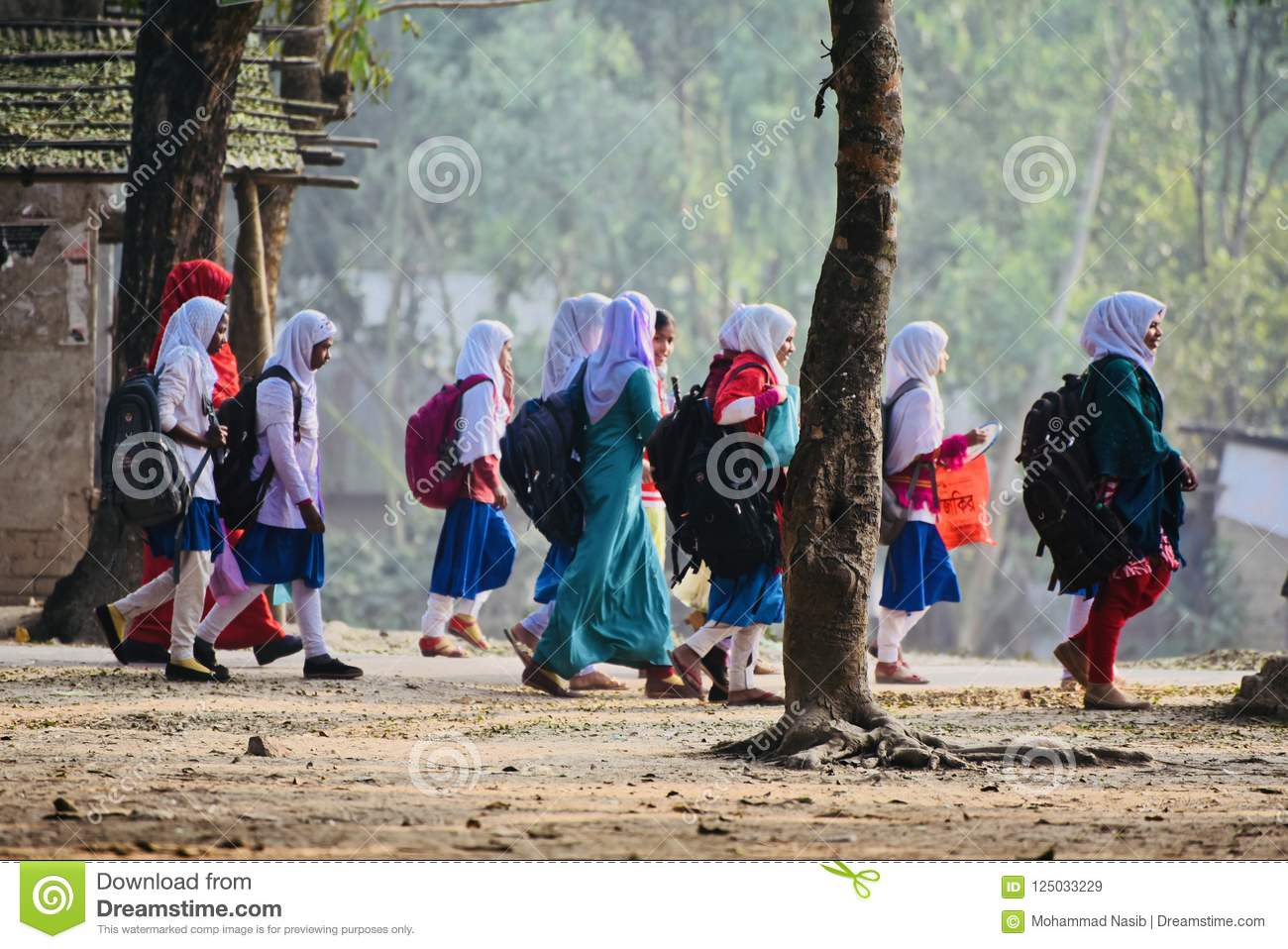 Download Young Girls Are Walking Together To Attend The Village School Editorial Stock Image - Image of girls, children: 125033229
