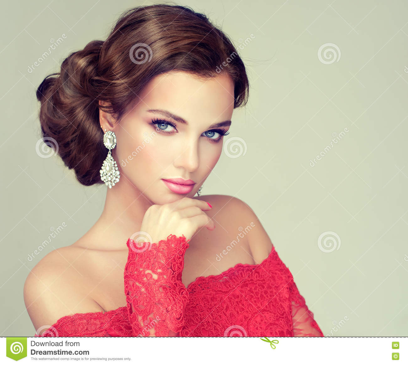 Young Gorgeous Model Dressed In A Red Gown Stock Image Image Of