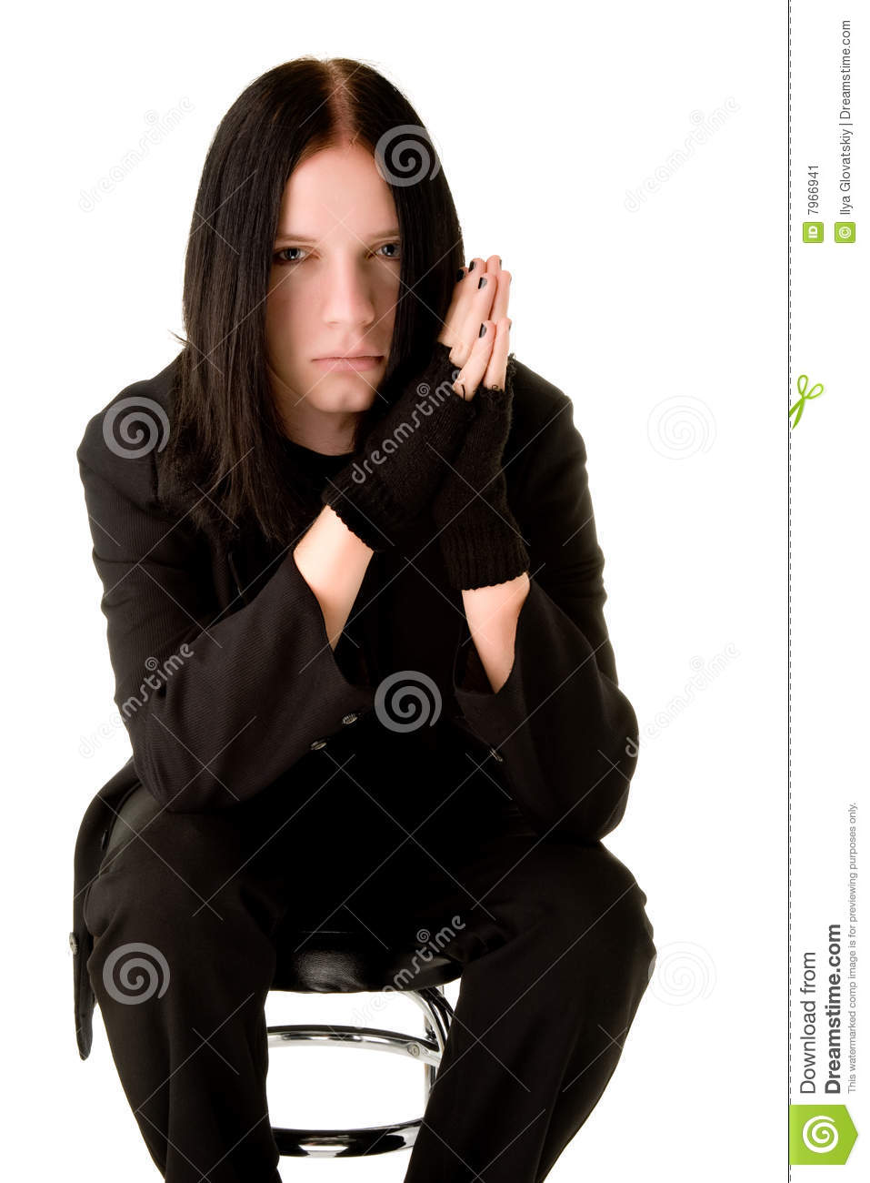 young goth man sitting on a bar chair mr yes pr no 2 728 2