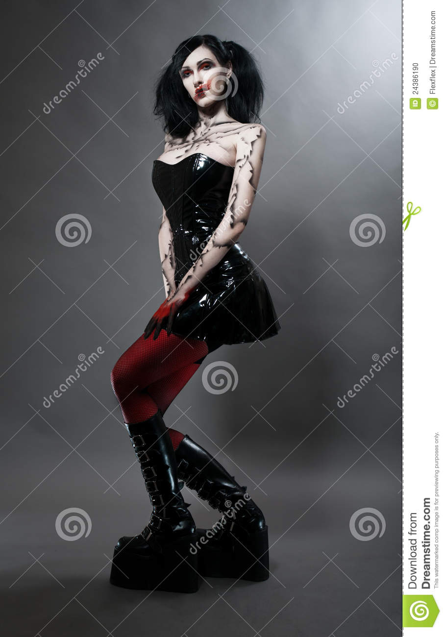 Young Gothic Girl In Fetish Costume Stock Photo Image Of