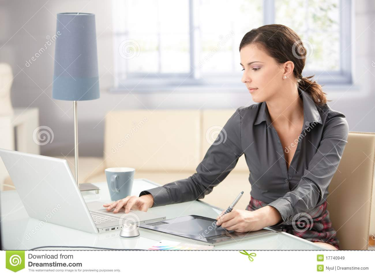 Young Graphic Designer Working At Home Stock Image - Image of ...