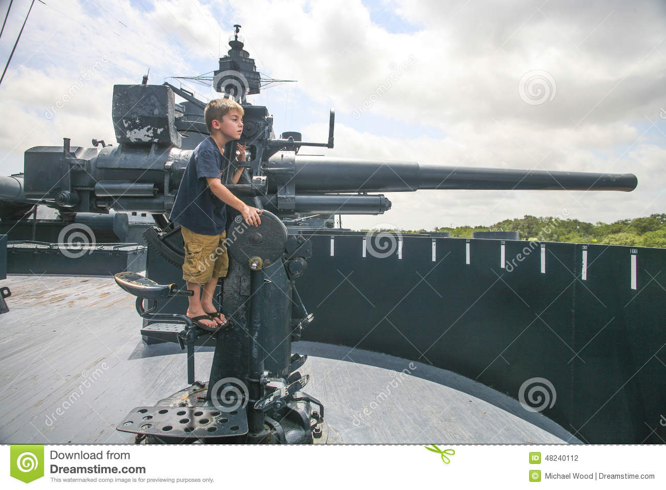 Young Gunner - USS Texas Battleship Stock Photo - Image: 48240112