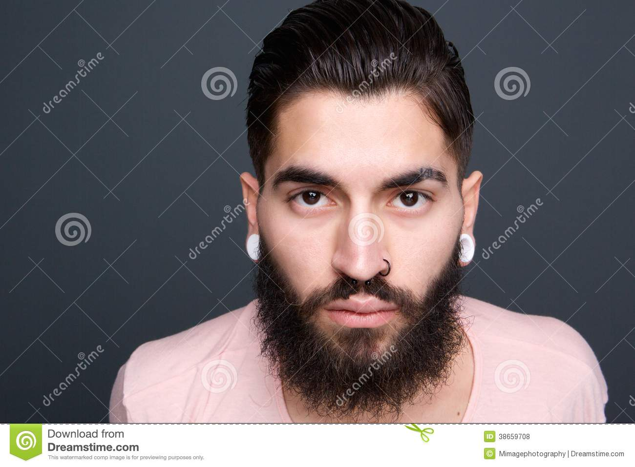 Young Guy Beard Piercing Close Up Portrait Cool Attractive Stylish Model