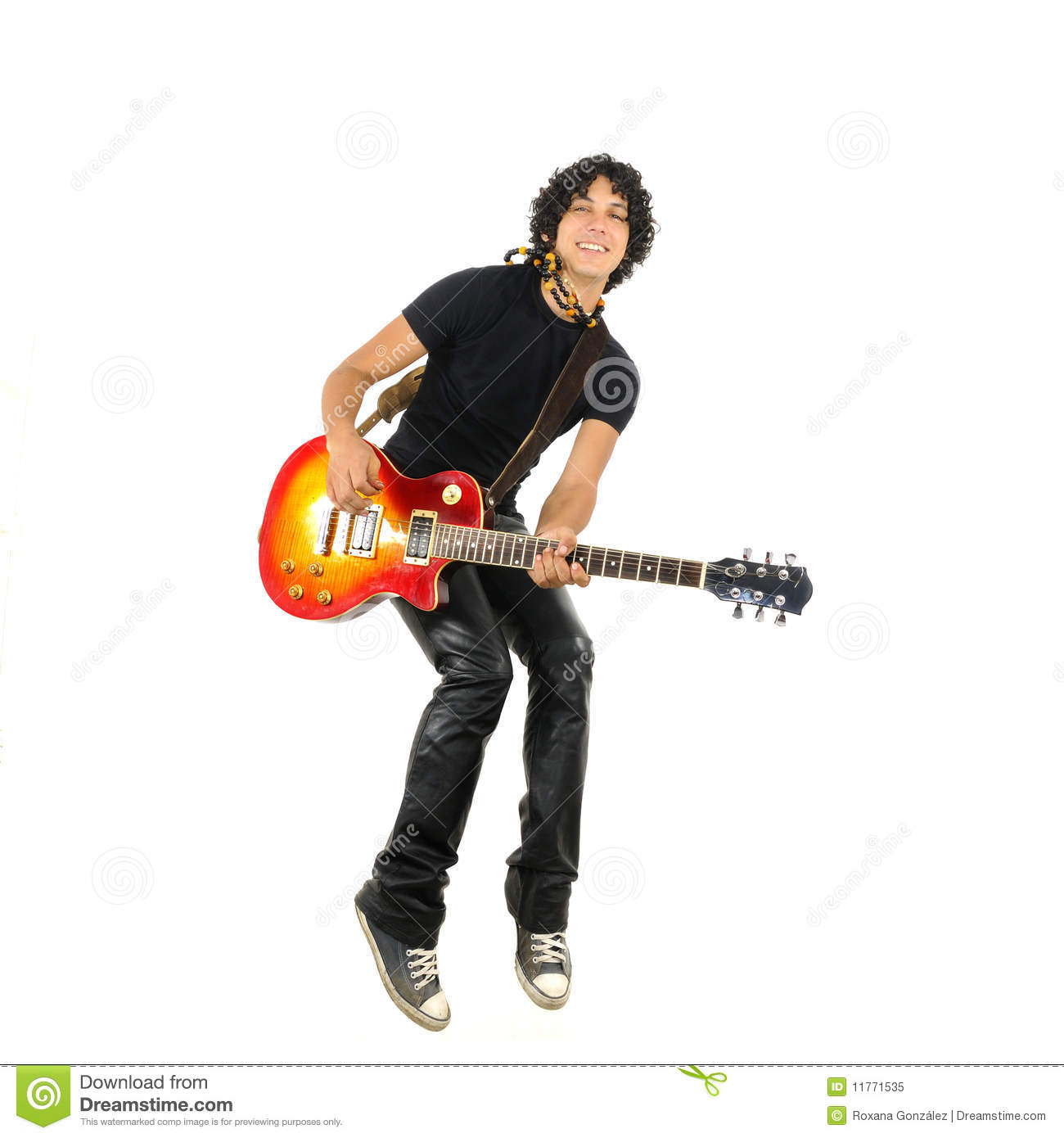 young guy jumping with electric guitar royalty free stock photo image 11771535. Black Bedroom Furniture Sets. Home Design Ideas