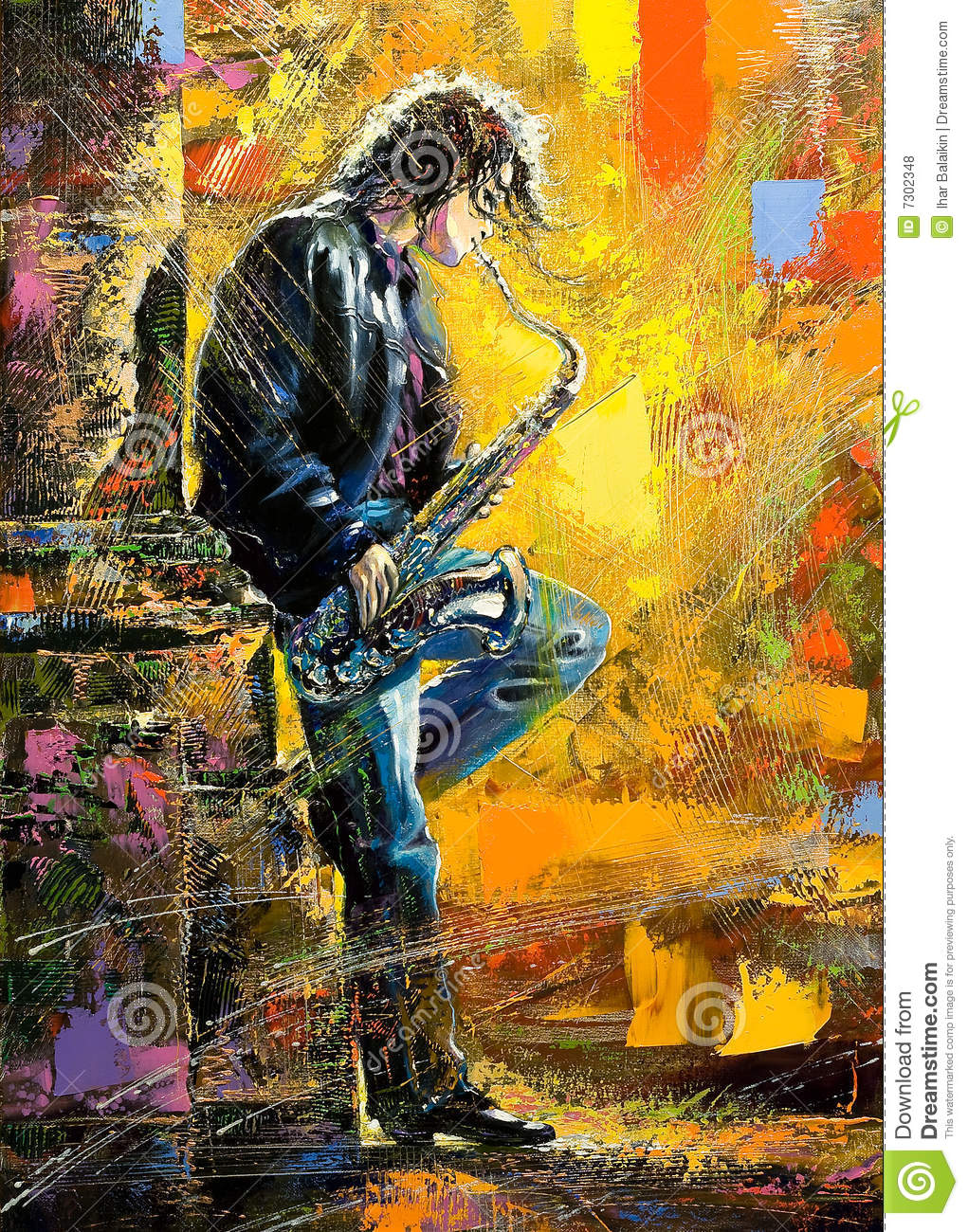 Young guy playing a saxophone
