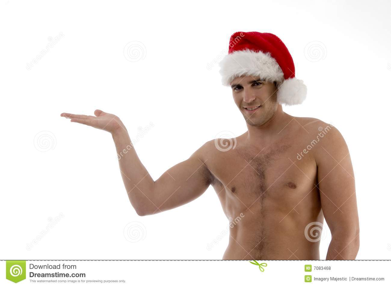 Shirtless Male Model Posing With Christmas Hat Stock Photo ...