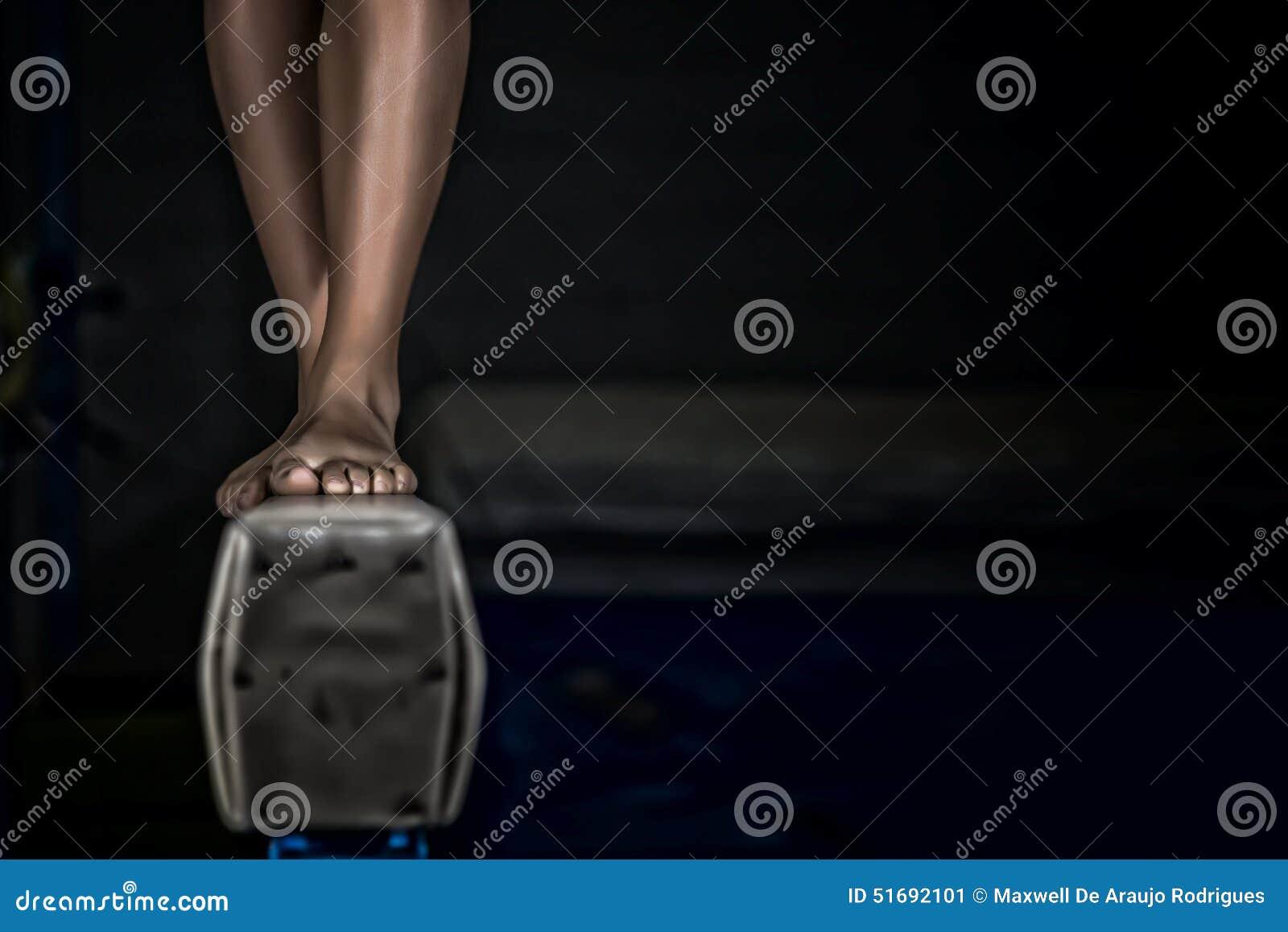 Young Gymnast Girl Balance Beam Stock Image Image Of