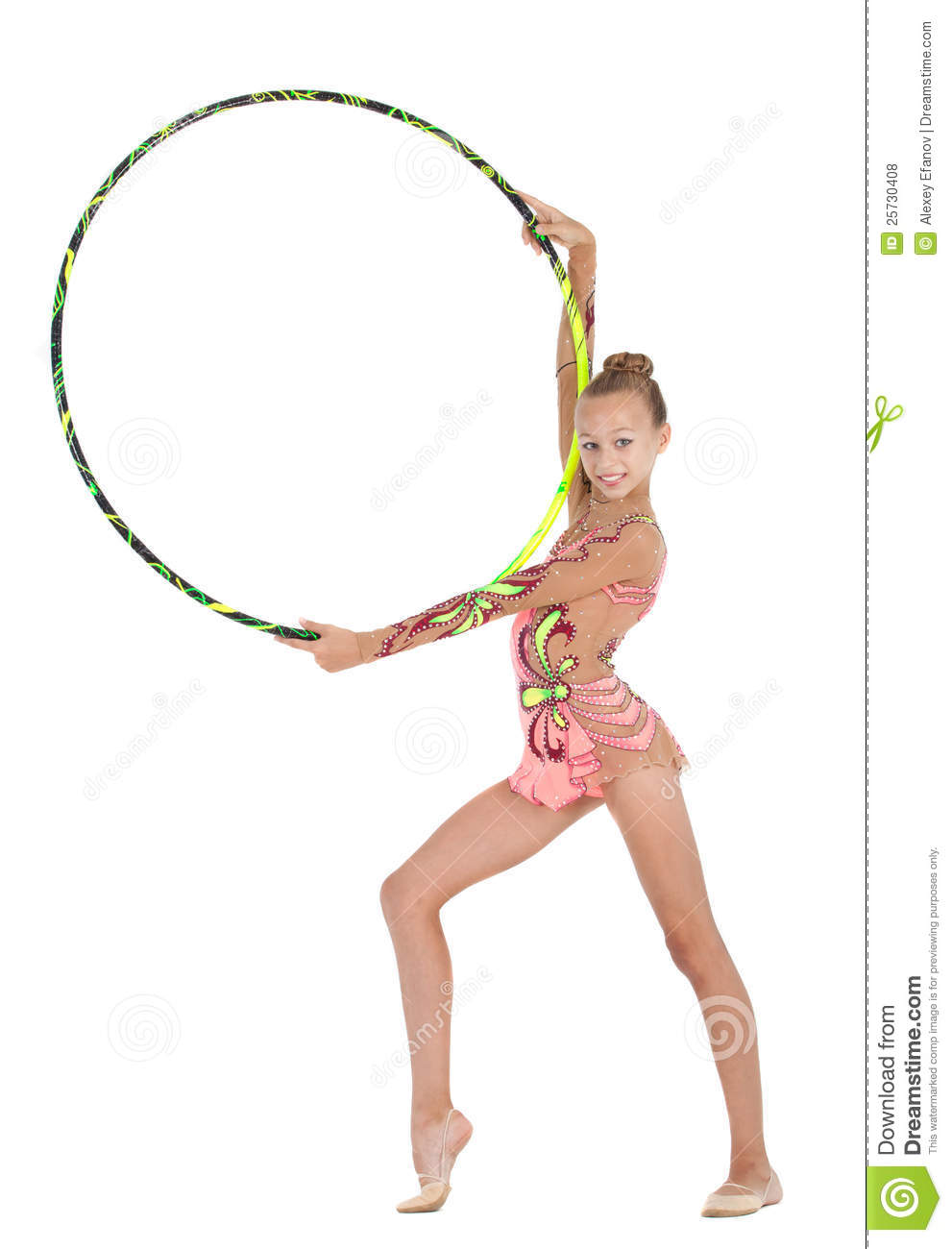 Young gymnast performs with the hoop