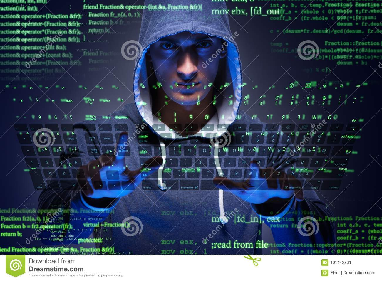 The Young Hacker In Cyber Security Concept Stock Image