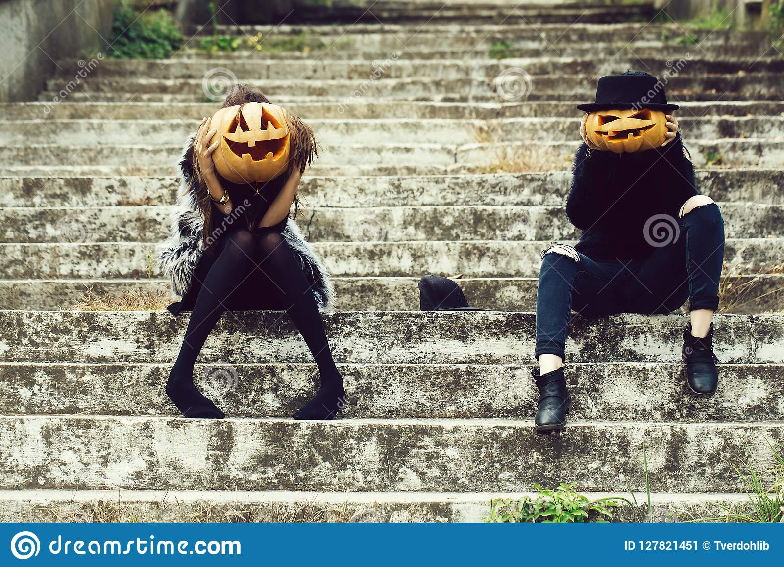 halloween witch girls with pumpkin stock image - image of female