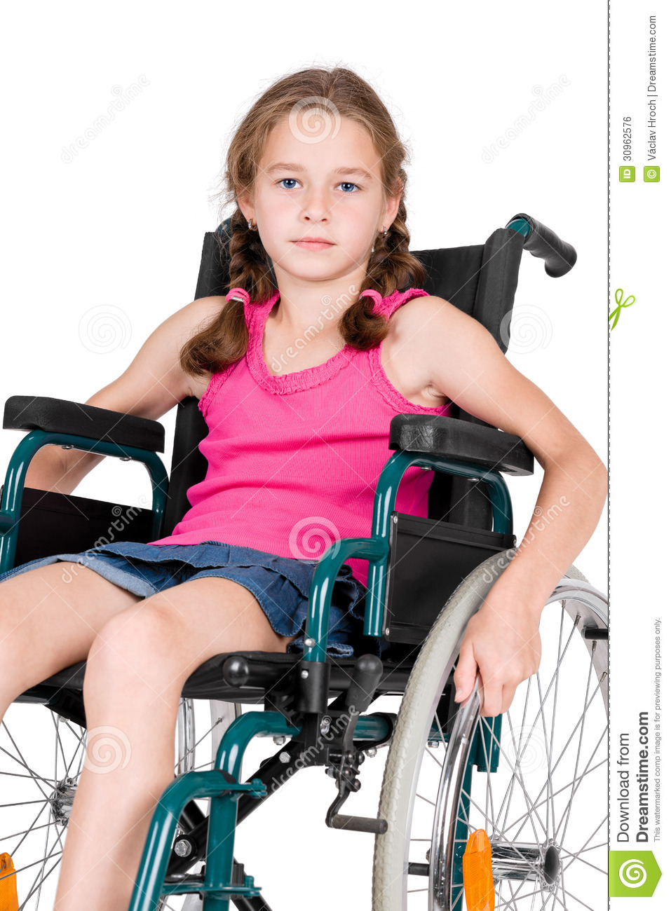 Young Handicapped Girl In A Wheelchair Stock Photo Image