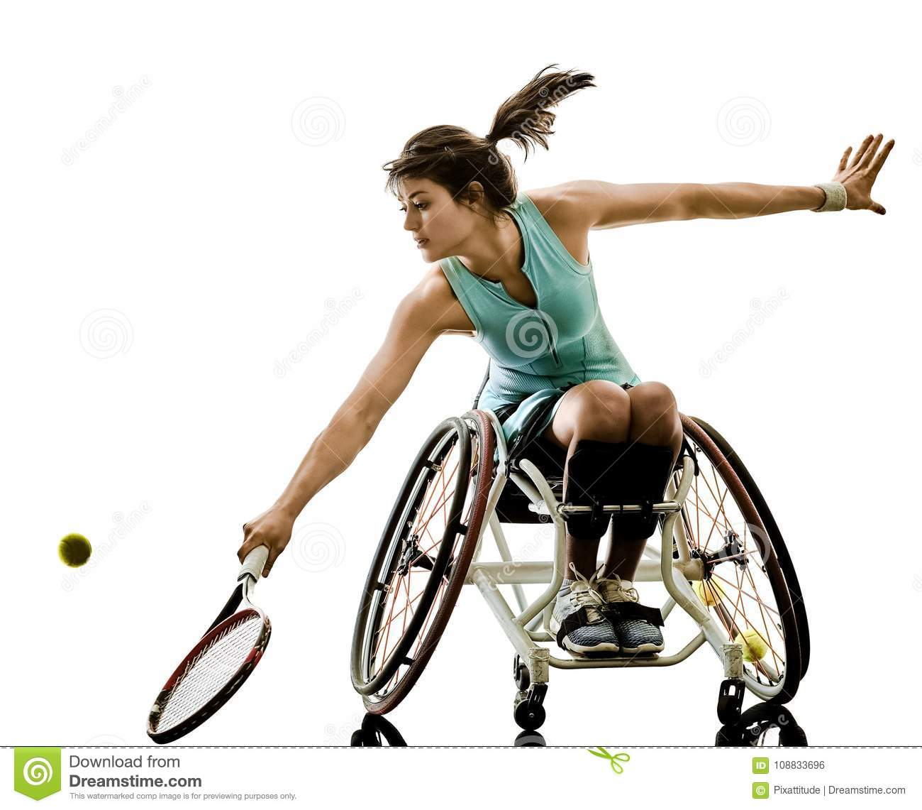 Young handicapped tennis player woman welchair sport isolated si