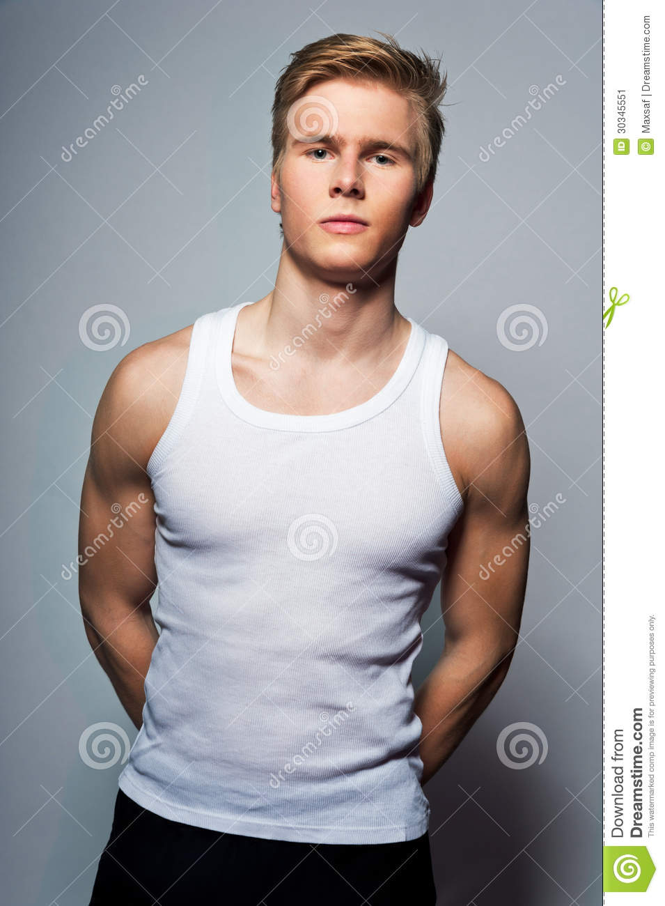 young handsome blond man wearing t shirt stock image image 30345551. Black Bedroom Furniture Sets. Home Design Ideas