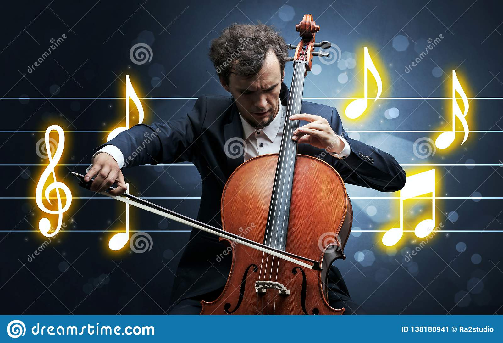 Young cellist with music sheet